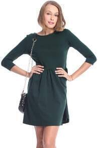 ROMWE Pleated Crop Sleeved Slim Green Dress
