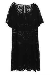 ROMWE Cut-out Lace Straight Cut Black Dress