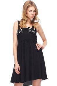 Cat Face Embellished Black Camisole Dress