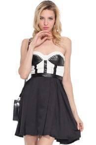 Rivets Embellished Black-white Bandeau Dress