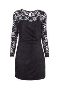 Sheer Lace Top Black Textured Dress