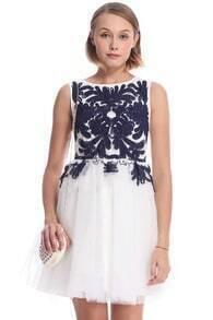 ROMWE Blue Ribbon Embroidered Sleeveless White Dress