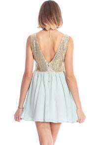 ROMWE Gold Sequined Sleeveless Mint-green Dress