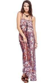 ROMWE Paisley Pattern Halter Maxi Dress