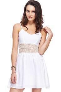 ROMWE Hollowed Waist White Dress