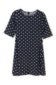 Polka Dots Print Navy Blue Dress