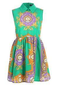 Retro Printing Green Dress
