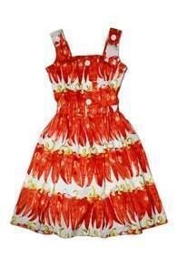 Feminine Chilli Print Tank Dress