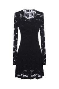 Hollow Lace Black Dress
