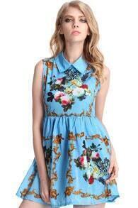 Retro Printing Blue Dress