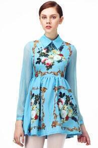 Sheer Sleeved Floral Dress