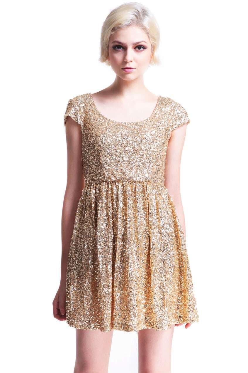 Paillettes Apricot Shift Dress - $20.90