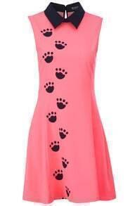 Black Claw Print Pink Dress