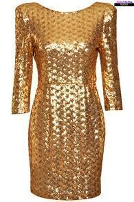 Sequined Golden Dress