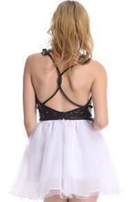 ROMWE Rivets Embellished Dual-tone Dress