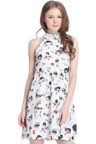 ROMWE Hand-painted Eyes Print Sleeveless White Dress