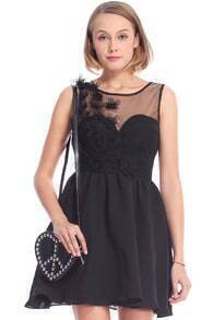 ROMWE Embroidered Black Sleeveless Dress