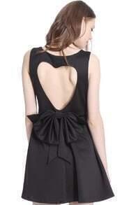 ROMWE Heart-shaped Cutout Sleeveless Black Dress