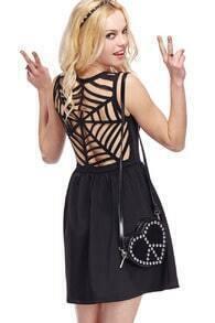 ROMWE Cobwebs Hollow-out Back Sleeveless Dress