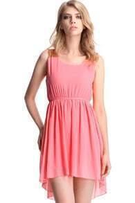 Pink Asymmetrical Hem Paillette Dress