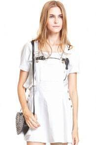 White Strap Loose Denim Suspender Skirt