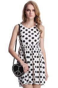 Black Dots Print Pleated Sleeveless White Dress
