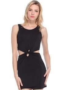 Cut-out Twined Slim Black Dress