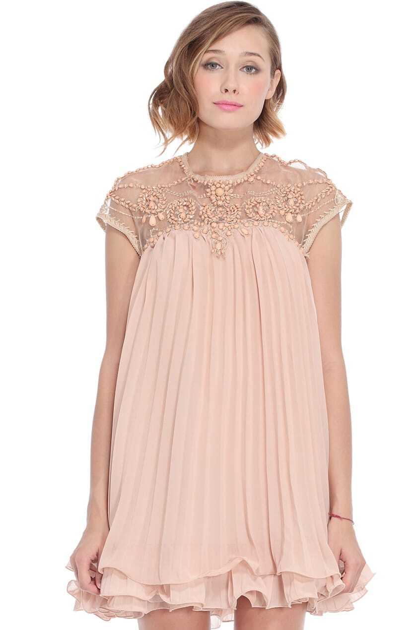 ROMWE Beaded Pleated Layered Apricot Smock DressFor Women ...