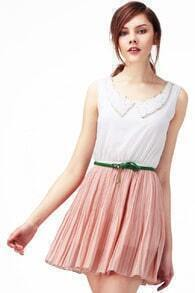 Peter Pan Neckline Pink Dress