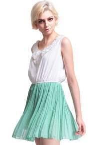 Peter Pan Neckline Green Dress