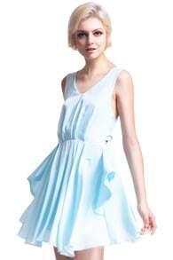 Cut-out Back Pleated Lake-Blue Dress