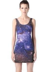 Blue Starry Sky Bodycon Dress