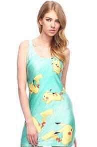 Cut-out Pikachu Print Green Dress