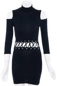 Off-shoulder Tied Black Dress