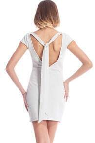 ROMWE Cutout Back Sleeveless White Dress