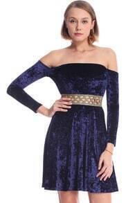 ROMWE Off-shoulder Long-sleeved Blue Velvet Dress