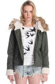 Hooded Pocketed Navy-green Coat