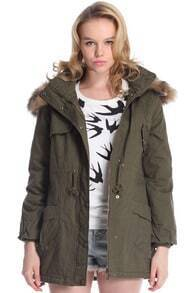 Hooded Fake Leather Pocketed Green Down Coat
