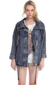 Lapels Pocketed Drawstring Denim Coat