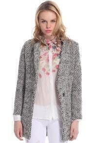Pocketed Houndstooth Grey Coat