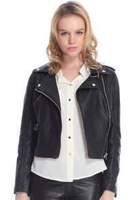 ROMWE Zippered Panel Faux Leather Black Jacket