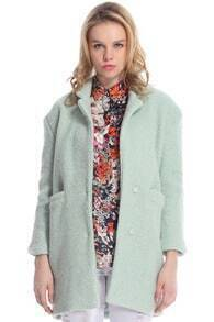 ROMWE Lapel Pocketed Light Green Coat