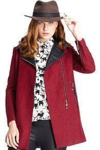 Romwe Panel Faux Leather Claret-red Woolen Coat
