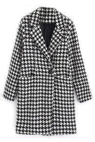 ROMWE Houndstooth Color Block Pocketed Long Sleeves Coat