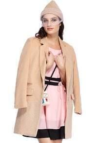 ROMWE Pocketed Long Sleeves Khaki Coat