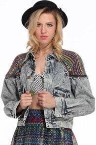 Ethnic Embroidered Denim  Coat