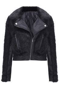 Faux Fur Splicing Black Short Coat