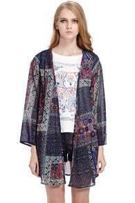 Ethnic Print Blue Chiffon Coat