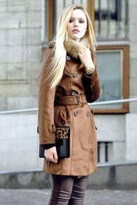 Belted Coffee Military Coat