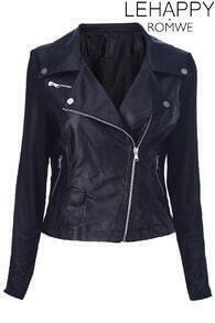Black Different Material Stitching Jacket